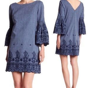 Eliza J Bell Sleeve Embroidered Chambray Dress 6